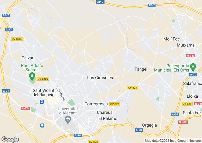 Map for Valencia, Alicante, San Vicente del Raspeig