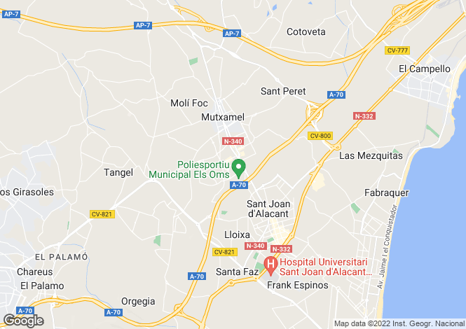 Map for Valencia, Alicante, Mutxamiel