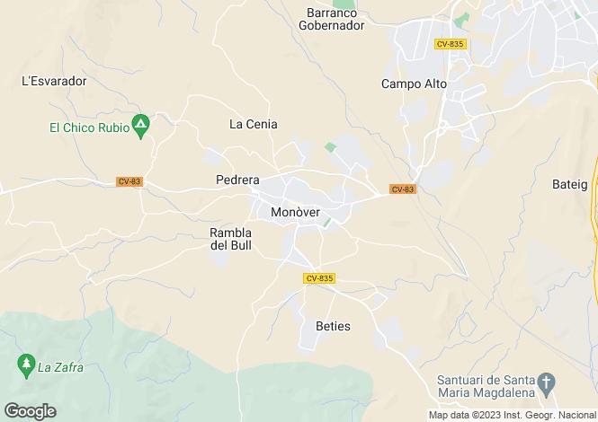 Map for Valencia, Alicante, Monóvar
