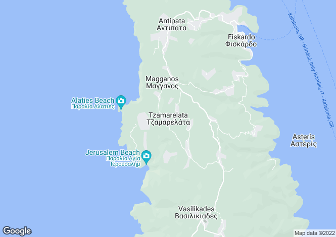 Map for Ionian Islands, Cephalonia, Tzamarelata