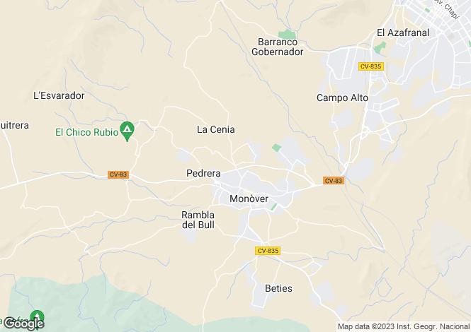 Map for Monovar, Alicante, Spain