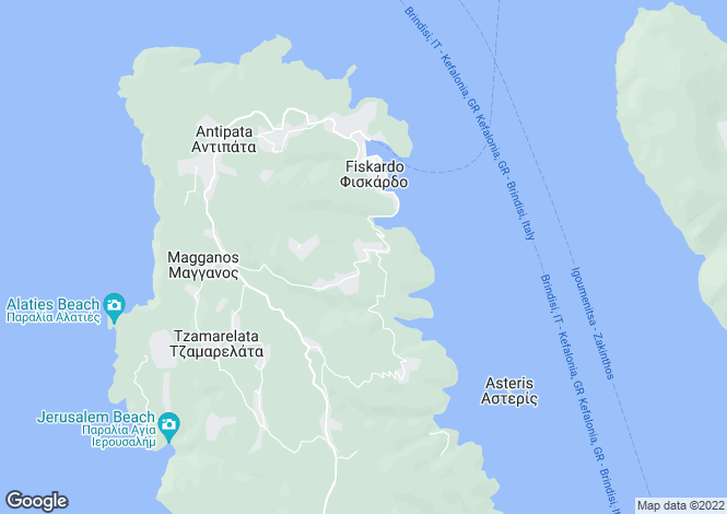 Map for Ionian Islands, Cephalonia, Tselentata