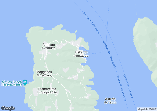 Map for Ionian Islands, Cephalonia, Fiskardo