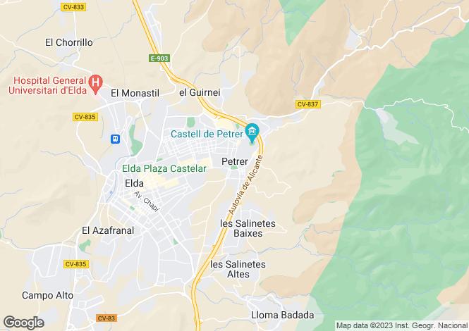 Map for Petrer, Alicante, Spain