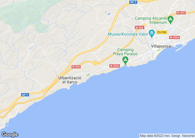 Map for Villajoyosa-La Vila Joíosa, Alicante, Valencia