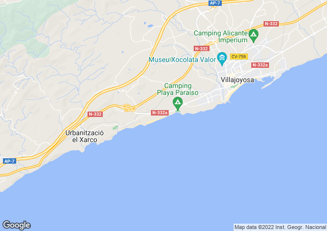 Map for Valencia, Alicante, Villajoyosa-La Vila Joíosa