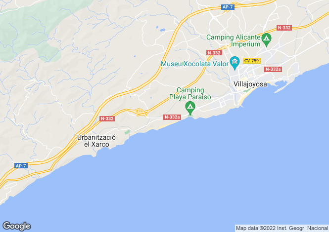 Map for Villajoyosa, Spain