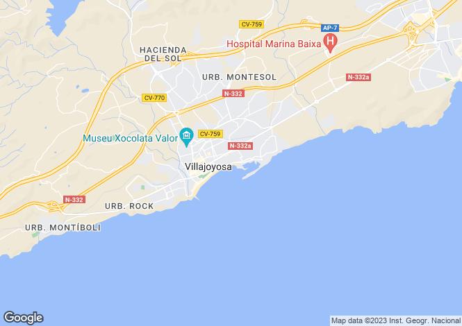 Map for Villajoyosa-La Vila Joíosa, Alicante, Valencia