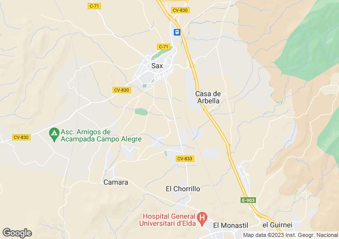 Map for Valencia, Alicante, Sax
