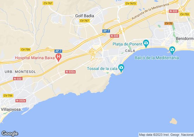 Map for Valencia, Alicante, Villajoyosa-La Vila Joíosa