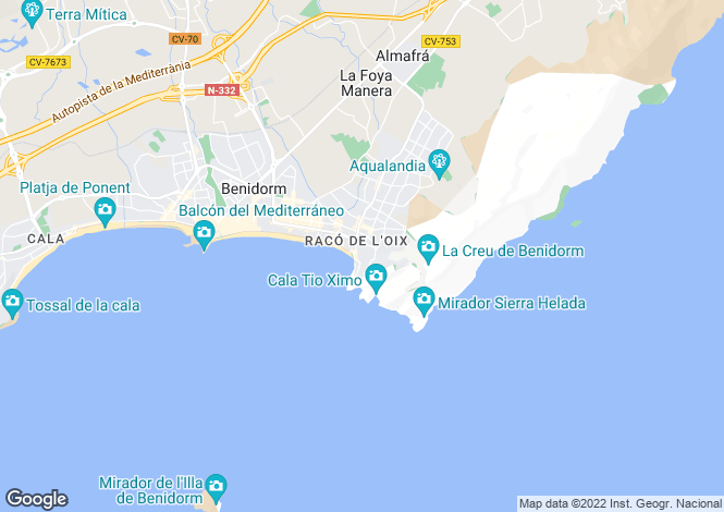 Map for Valencia, Alicante, Benidorm