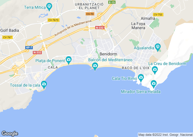 Map for Benidorm, Alicante