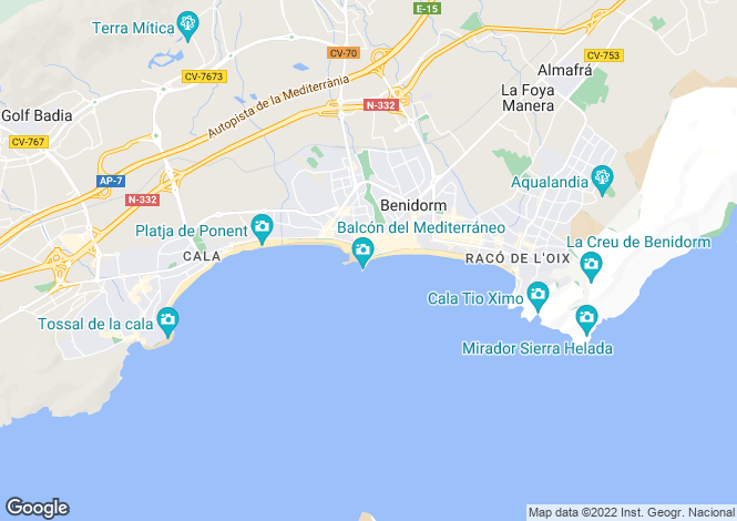 Map for Spain, Valencia, Alicante, Benidorm