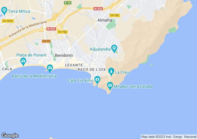 Map for Valencia, Alicante, Benidorm
