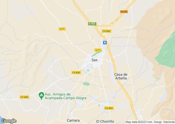Map for Sax, Alicante, Valencia