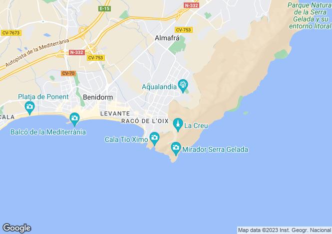 Map for Benidorm, Alicante, Valencia