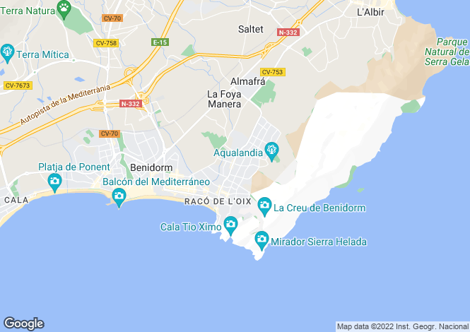 Map for Benidorm, Alicante, Valencia
