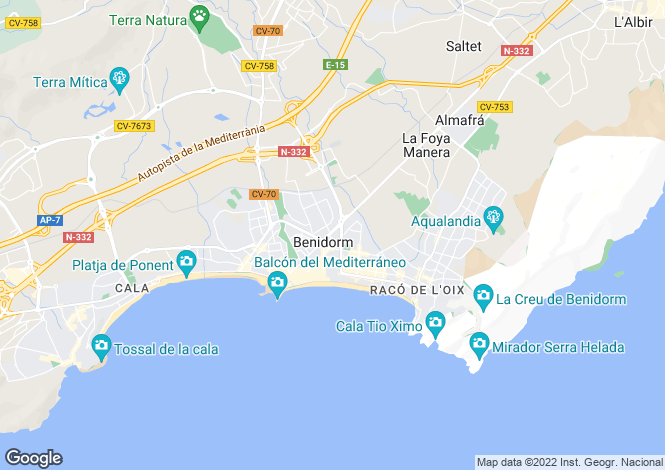 Map for Benidorm, Spain