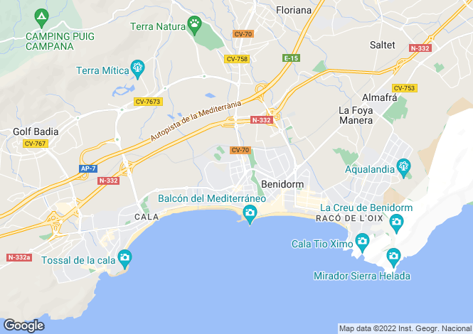 Map for Benidorm, Alicante, Spain