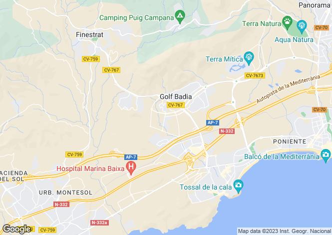 Map for Finestrat, Alicante, Spain
