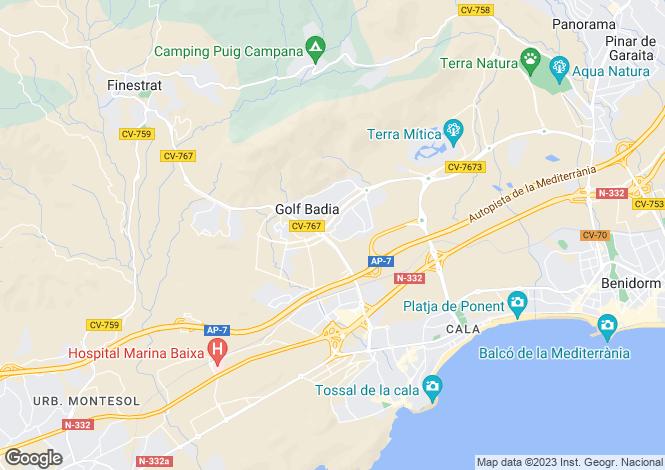 Map for Finestrat, Alicante, Valencia