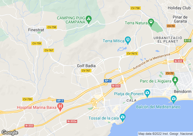 Map for Valencia, Alicante, Finestrat