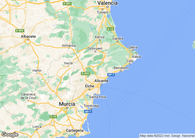 Map for Valencia, Alicante