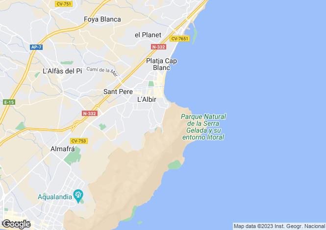 Map for Valencia, Alicante, Albir