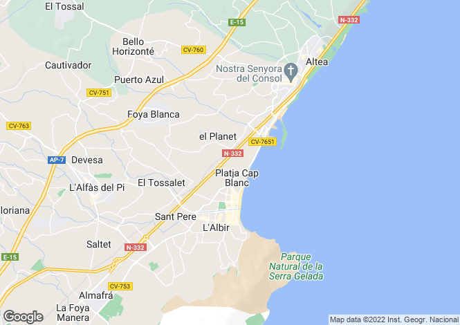 Map for Valencia, Alicante, Albir