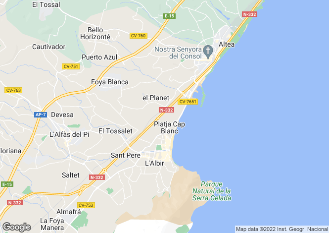 Map for Spain, Valencia, Alicante, Albir