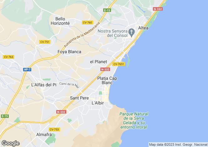Map for Spain - Valencia, Alicante, Albir