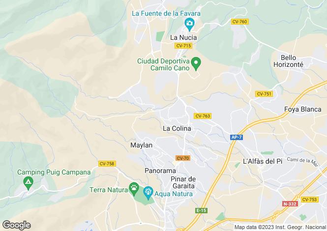 Map for Valencia, Alicante, La Nucía