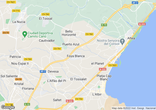 Map for Alfaz del Pi, Spain
