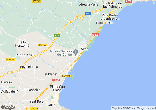 Map for Altea, Alicante, Valencia