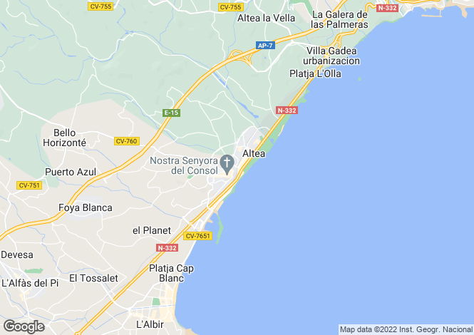 Map for Altea, Valencia, 03724, Spain
