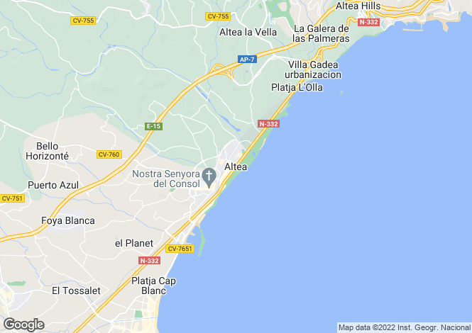 Map for Altea, Spain