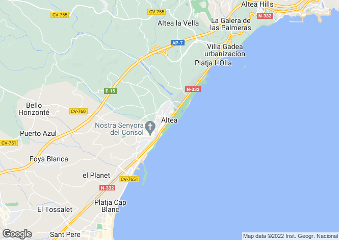 Map for Altea, Costa Blanca, 03590, Spain