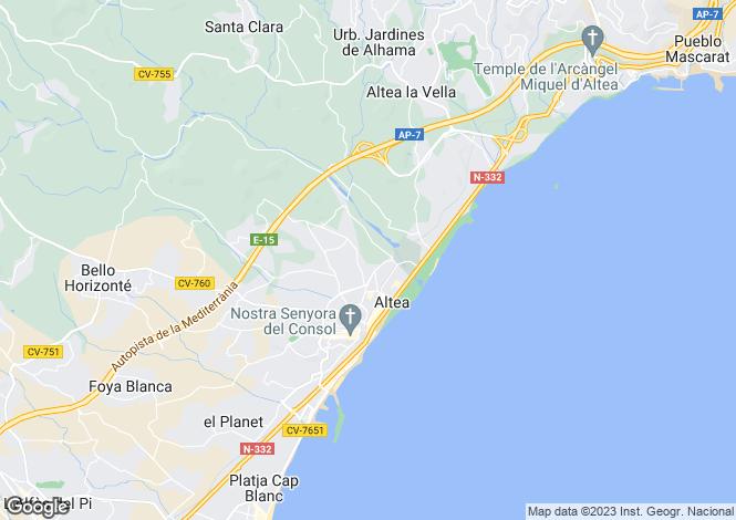 Map for Altea, Alicante, Spain
