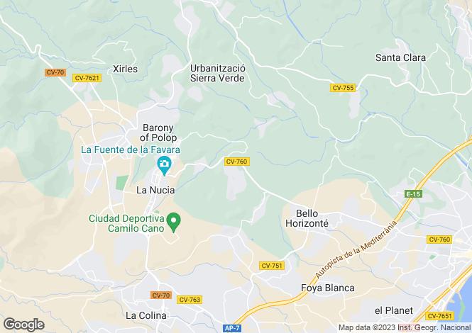 Map for La Nucía, Alicante, Valencia