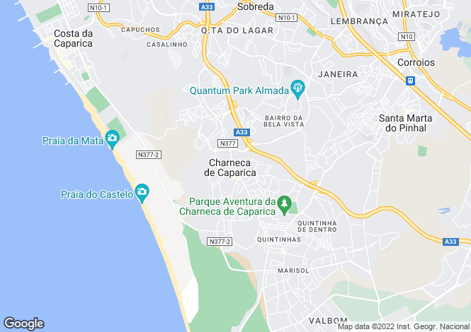 Map for Almada, Estremadura