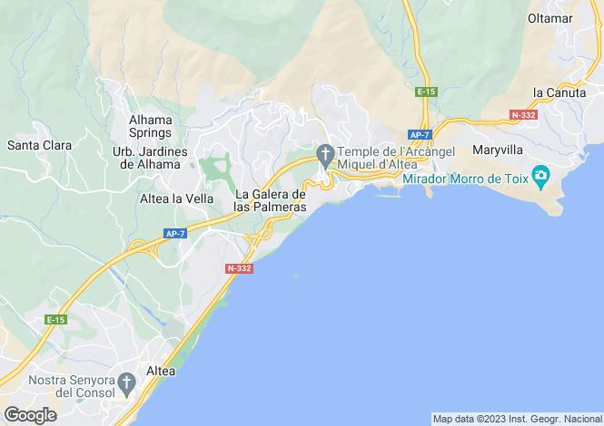 Map for Altea, Alicante, Valencia