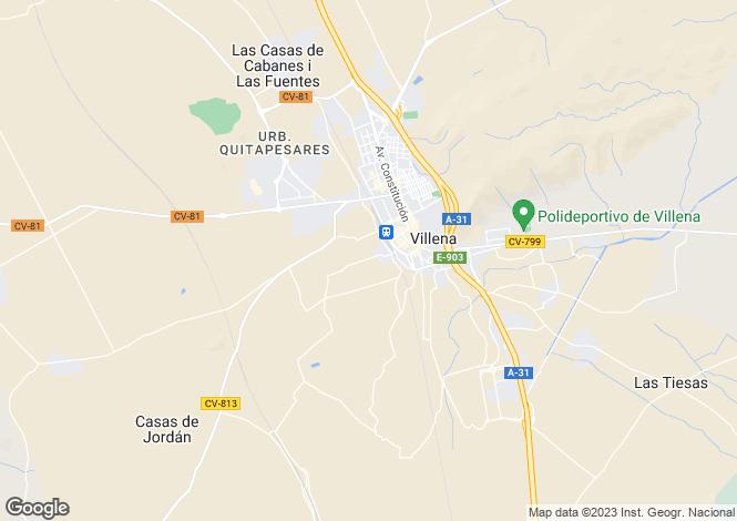 Map for Valencia, Alicante, Villena