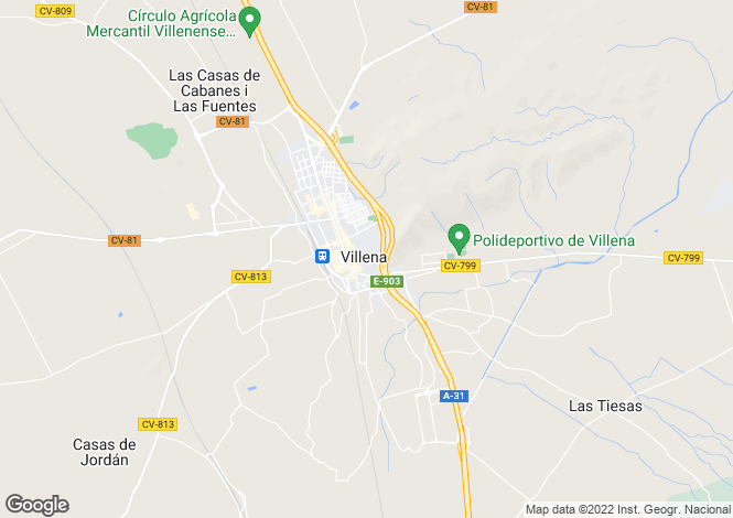 Map for Valencia, Alicante, Villena