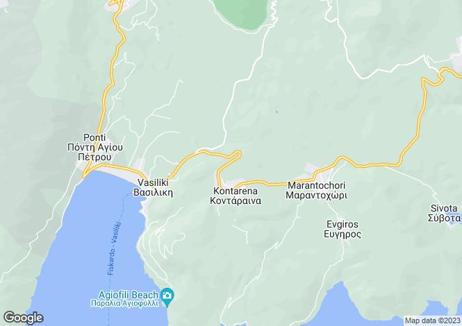 Map for Ionian Islands, Lefkada, Vasiliki