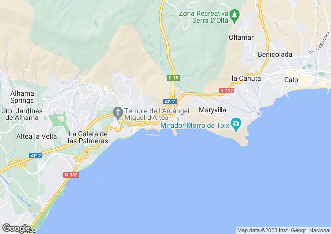 Map for Valencia, Alicante, Altea