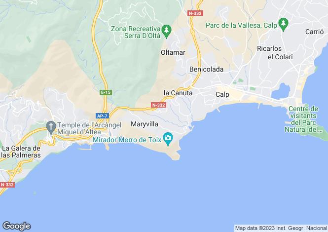 Map for Valencia, Alicante, Calpe