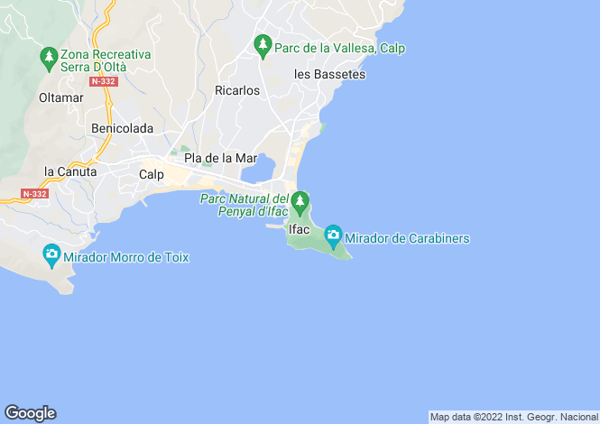 Map for Calpe, Alicante, Spain