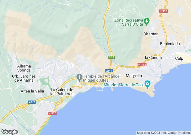 Map for Spain - Valencia, Alicante, Altea