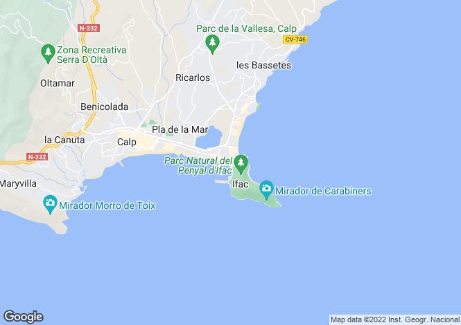 Map for Calpe, Spain