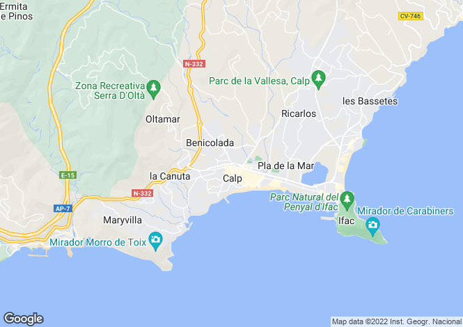 Map for Calpe, Valencia, 03724, Spain